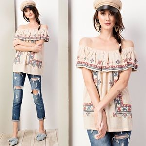 KIRA Embroidered Off Shoulder Top